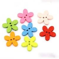 Çiçek Desenli Ahşap Düğme 5'li