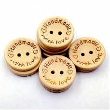 Handmade Ahşap Düğme Yuvarlak 10'lu